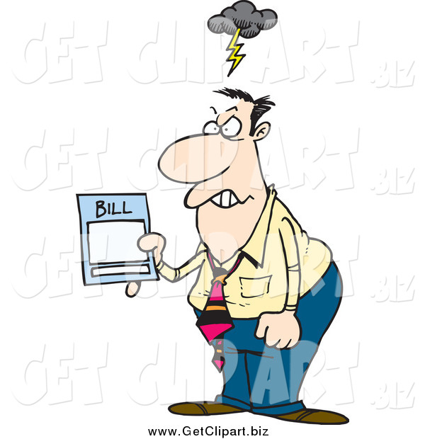 Clip Art of a Cartoon Furious White Businessman Holding an Overcharged Billing Statement