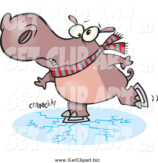 Clip Art of a Cartoon Hippo Ice Skating with Cracks