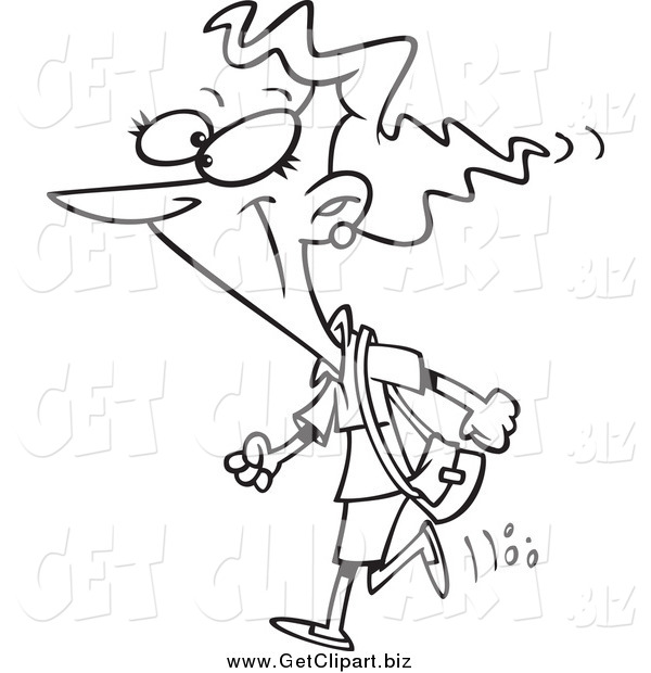 Clip Art of a Cartoon Lineart Woman Heading out to Shop