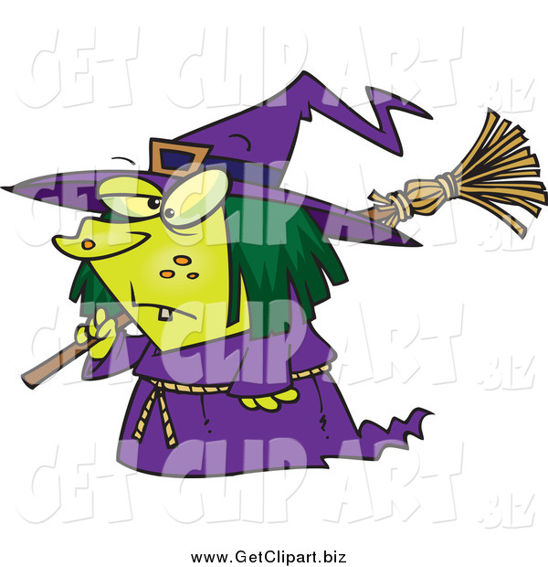 Clip Art of a Cartoon Short Witch Carrying a Broom