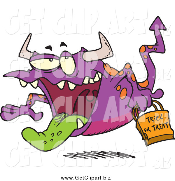 Clip Art of a Cartoon Trick or Treating Flying Monster