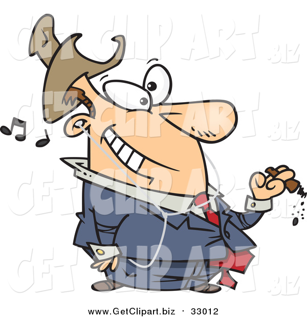 Clip Art of a Cartoon White Businessman Smoking a Cigar and Listening to Music