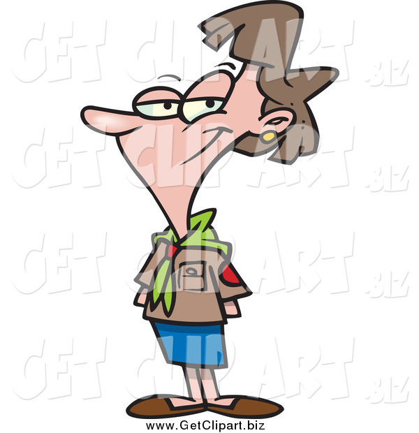 Clip Art of a Cartoon White Female Scout Leader Posing