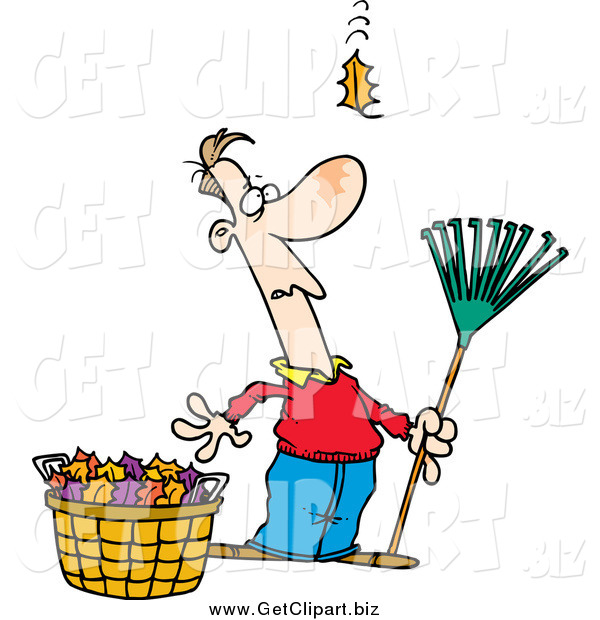 Clip Art of a Cartoon White Man Raking Leaves, Watching yet Another Fall