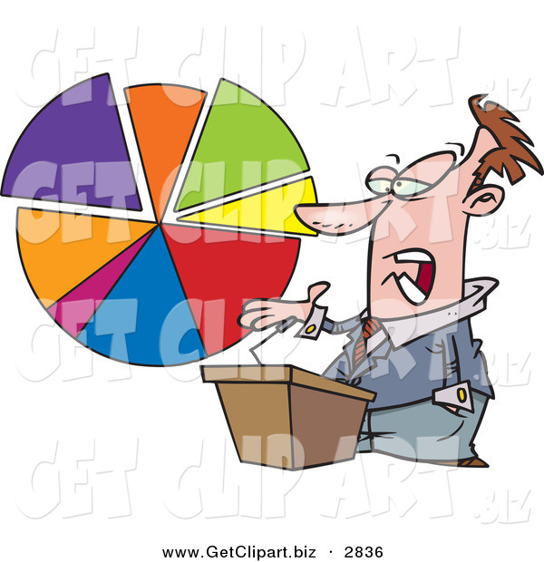 Clip Art of a Caucasian Male Business Man Standing at a Podium, Discussing a Pie Chart on White
