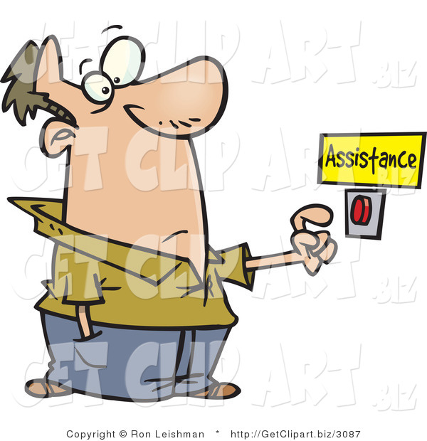 Clip Art of a Caucasian Man About to Push a Customer Service Button Under an Assistance Sign