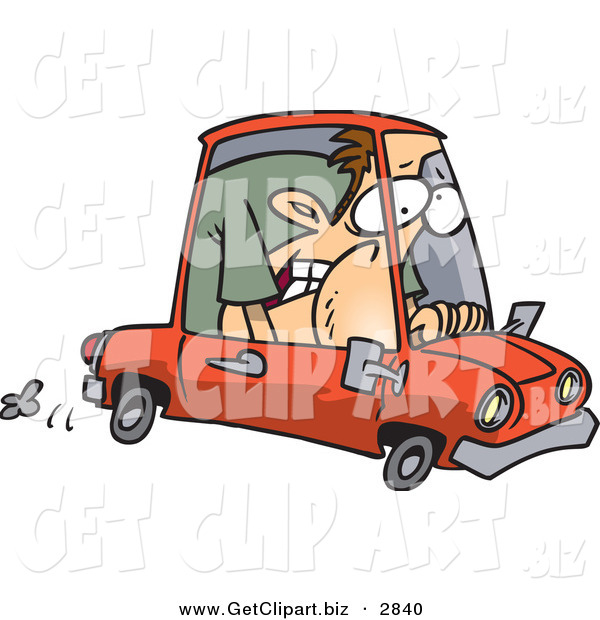 Clip Art of a Caucasian Man Squished into a Tiny Red Compact Mini Car on White