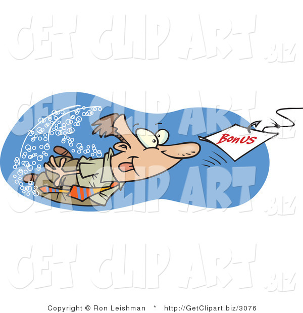 Clip Art of a Caucasian Man Swimming After a Hooked Bonus Underwater