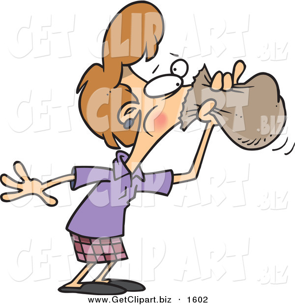 Clip Art of a Caucasian Woman Hyperventilating and Breathing into a Bag