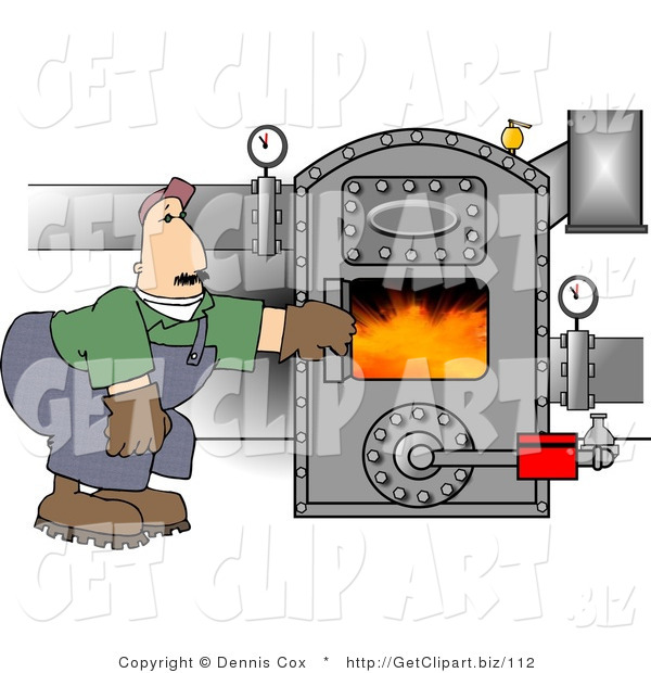 Clip Art of a Cautious Man Opening the Door of a Hot Boiler with Valves
