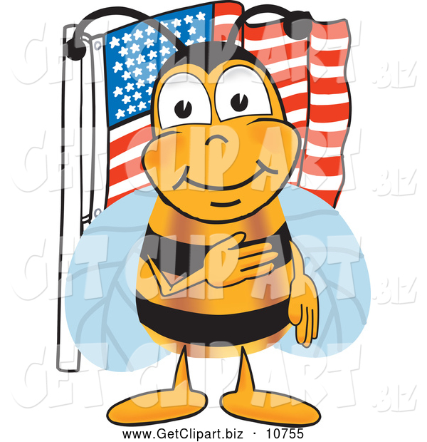 Clip Art of a Cheerful Bee Mascot Cartoon Character Giving the Pledge of Allegiance near an American Flag