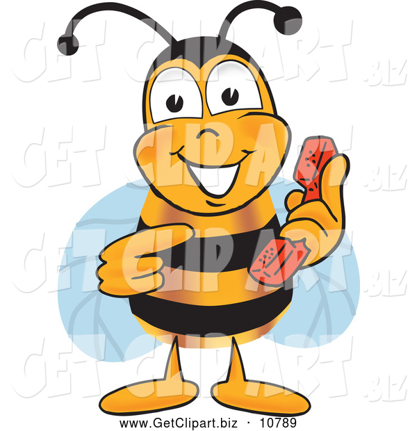 Clip Art of a Cheerful Bee Mascot Cartoon Character Holding and Pointing to a Telephone