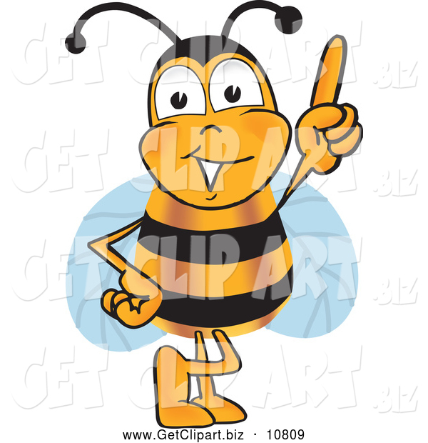 Clip Art of a Cheerful Bee Mascot Cartoon Character Pointing Upwards