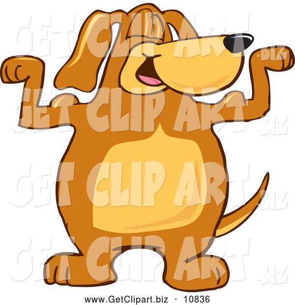 Clip Art of a Cheerful Brown Dog Mascot Cartoon Character Flexing His Bicep Arm Muscles