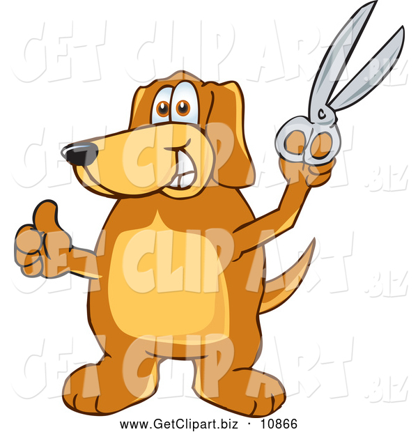 Clip Art of a Cheerful Brown Dog Mascot Cartoon Character Holding a Pair of Scissors