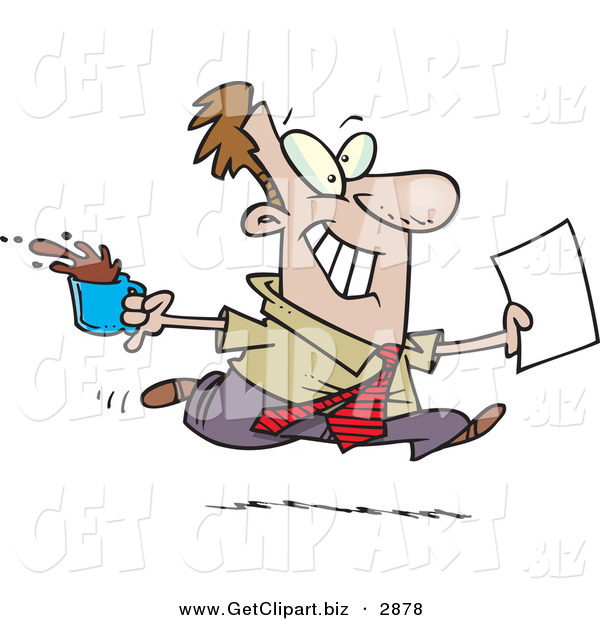 Clip Art of a Cheerful Brown Nosing Business Man Fetching Coffee and Papers for the Boss