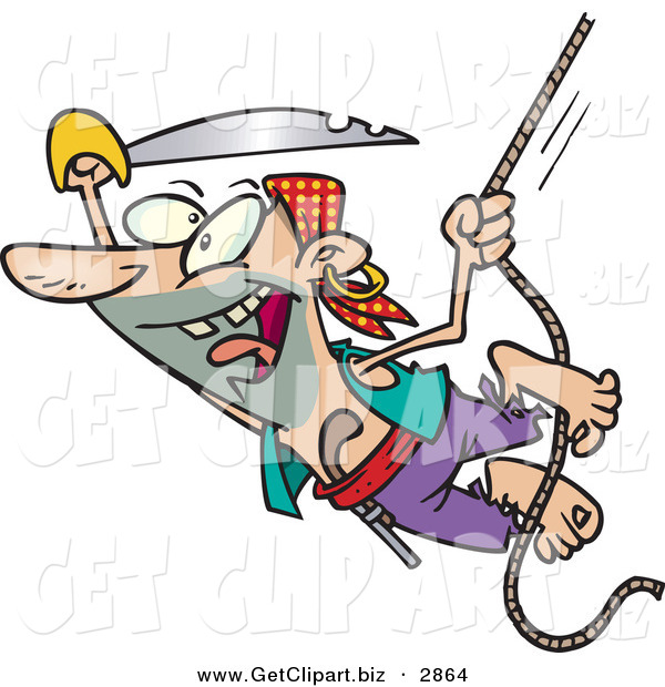 Clip Art of a Cheerful Pirate with a Sword Swinging on a Rope