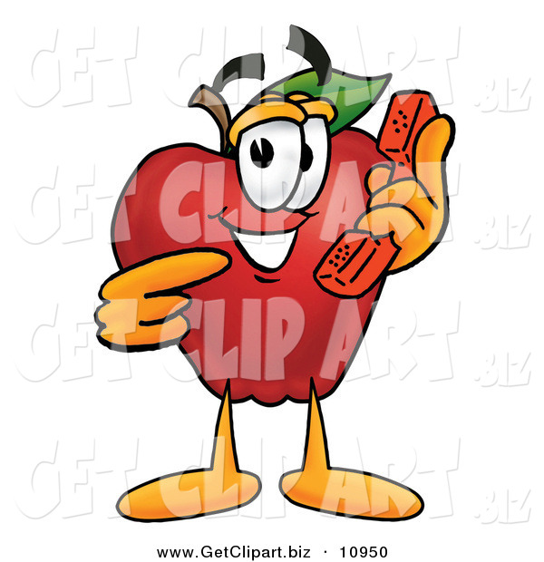 Clip Art of a Cheerful Red Apple Character Mascot Talking on a Telephone