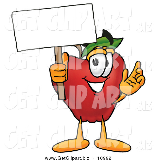 Clip Art of a Cheerful Red Delicious Apple Character Mascot Holding a Blank White Sign over His Head