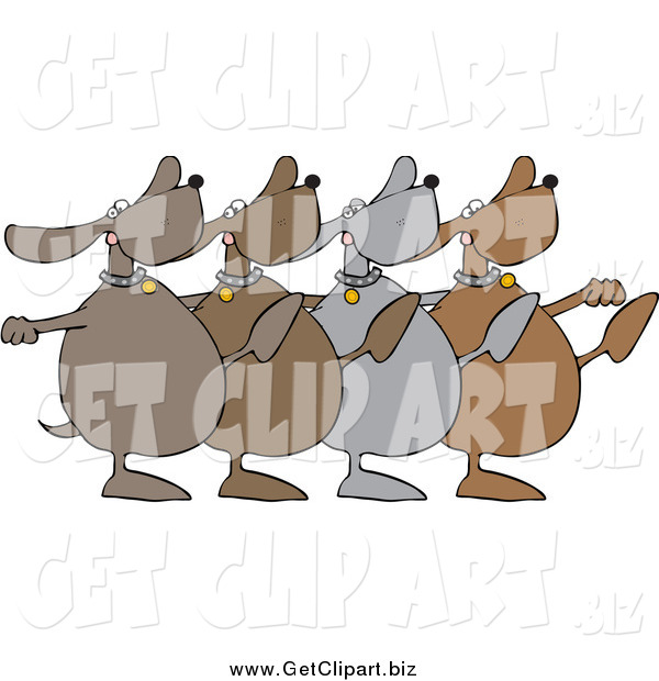 Clip Art of a Chorus Line of Dancing Dogs Kicking Legs up