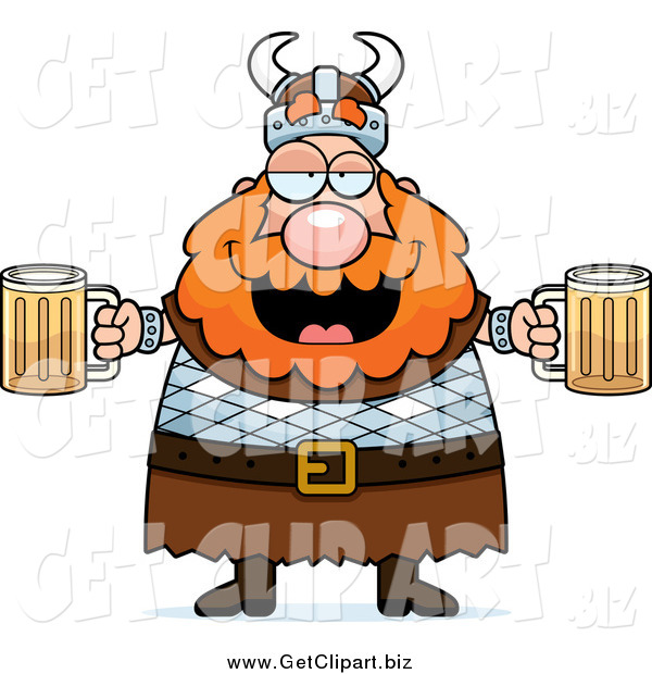 Clip Art of a Chubby Drunk Red Haired Viking Man Holding Beer