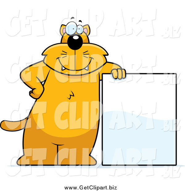Clip Art of a Chubby Orange Cat Leaning on a Blank Sign