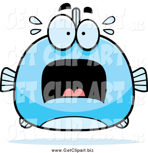 Clip Art of a Chubby Screaming Blue Fish