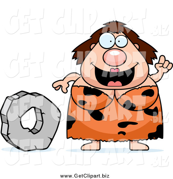 Clip Art of a Chubby Smart Cave Woman with a Stone Wheel