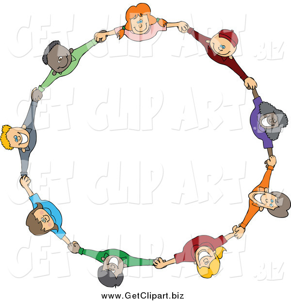 Clip Art of a Circle of Happy Children Holding Hands