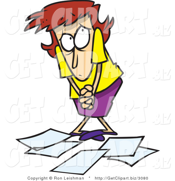 Clip Art of a Clumsy Woman Worker Being Scolded for Dropping Papers