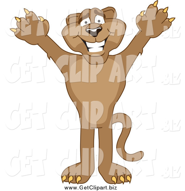 Clip Art of a Cougar Cheering