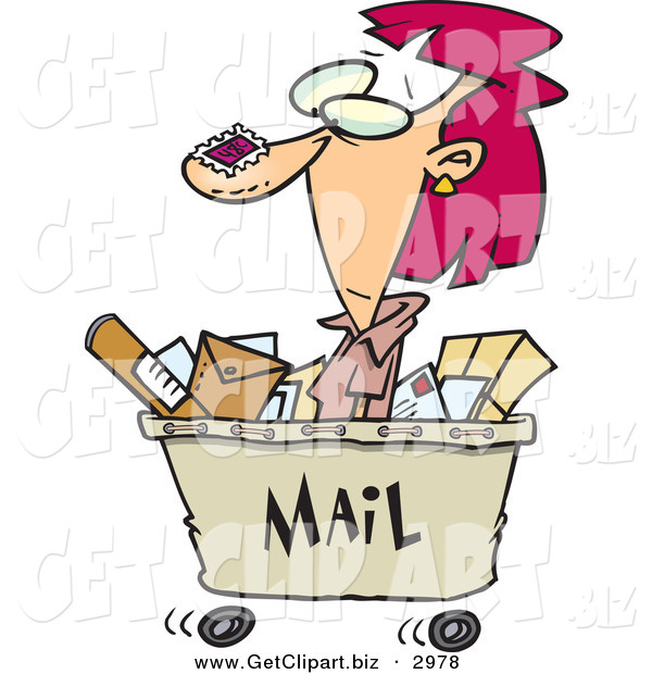 Clip Art of a Crazy Woman in a Mail Cart, Stamped with Postage