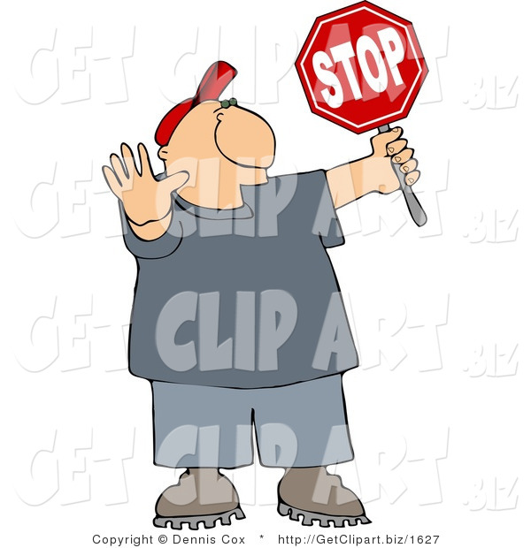 Clip Art of a Cross Guard Man Holding up His Hand and a Stop Sign so Pedestrians Can Cross the Street