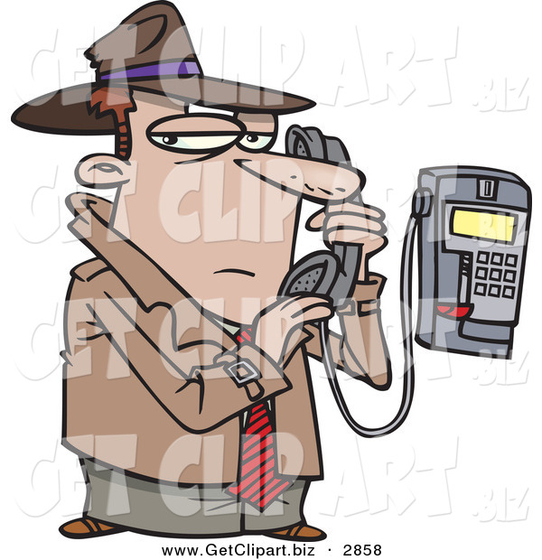 Clip Art of a Cucasian Undercover Private Eye Detective Talking Secretively on a Telephone