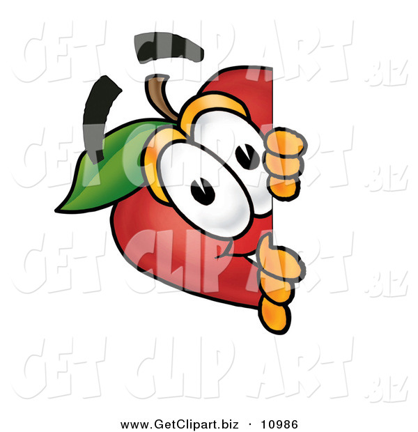 Clip Art of a Curious and Happy Red Apple Character Mascot Peeking Around a Corner and Spying on Someone