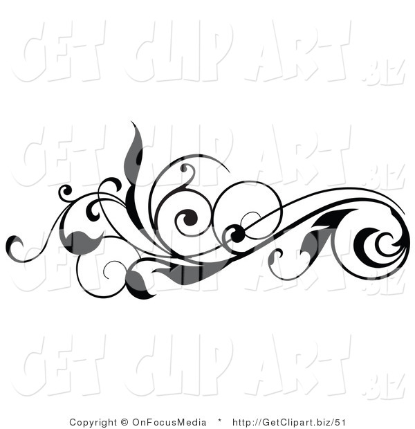Clip Art of a Curly Black Silhouetted Leafy Scroll Horizontal Design Element
