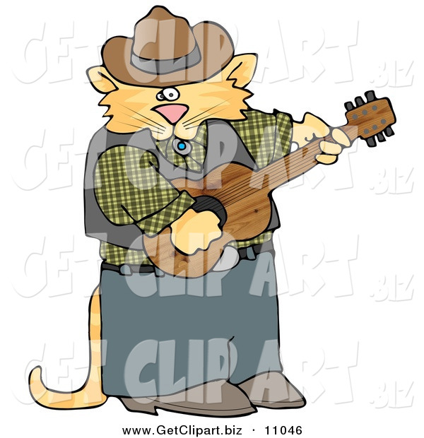 Clip Art of a Cute Anthropomorphic Cowboy Cat Playing Country Music on an Acoustic Guitar on White