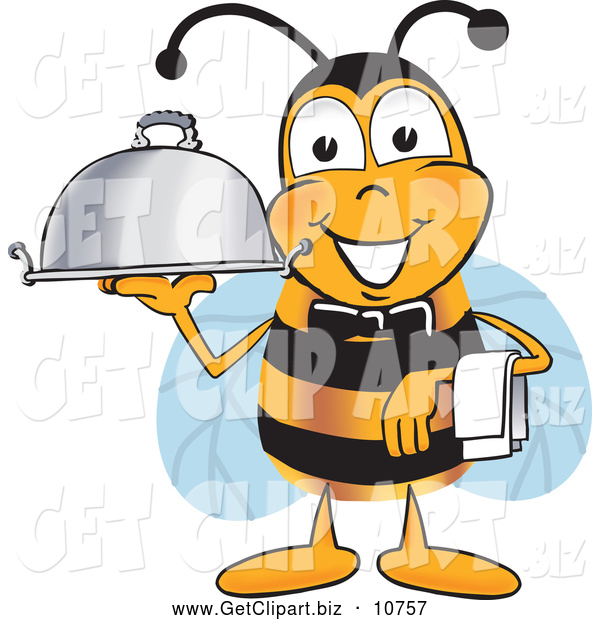 Clip Art of a Cute Bee Mascot Cartoon Character Dressed As a Servant, Carrying a Food Platter