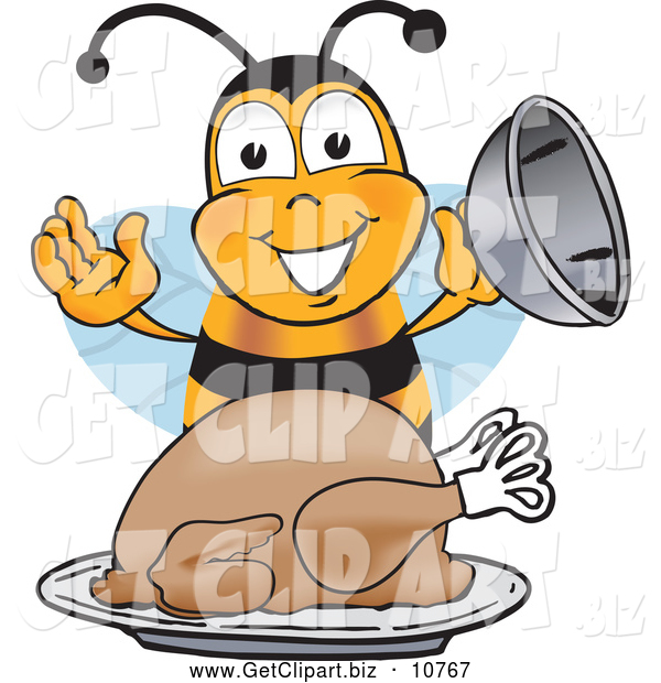 Clip Art of a Cute Bee Mascot Cartoon Character Holding the Lid to a Platter with a Thanksgiving Turkey on It