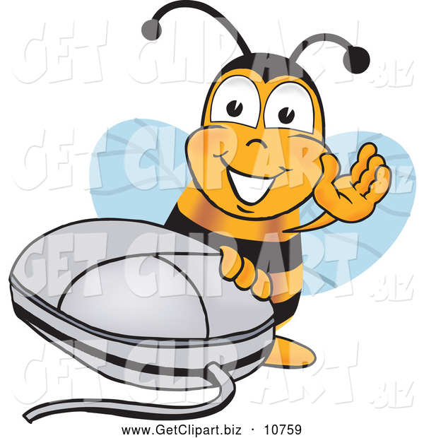 Clip Art of a Cute Bee Mascot Cartoon Character with a Computer Mouse