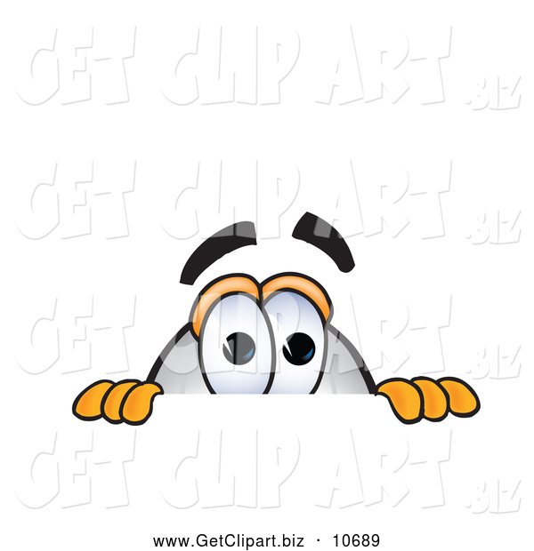 Clip Art of a Cute Blimp Mascot Cartoon Character Scared and Peeking over a Surface