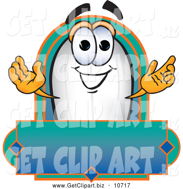 Clip Art of a Cute Blimp Mascot Cartoon Character with a Blank Label