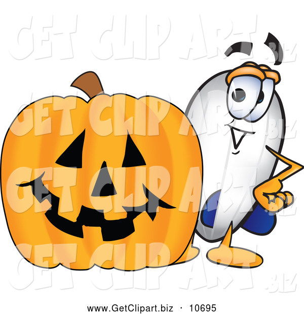 Clip Art of a Cute Blimp Mascot Cartoon Character with a Carved Halloween Pumpkin
