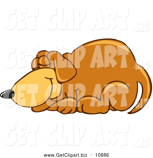 Clip Art of a Cute Brown Dog Mascot Cartoon Character Curled up and Sleeping
