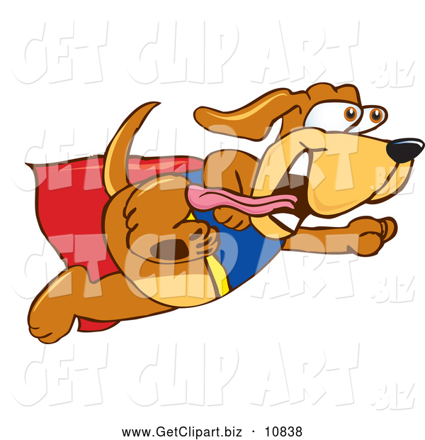 Clip Art of a Cute Brown Dog Mascot Cartoon Character Dressed As a Super Hero, Flying