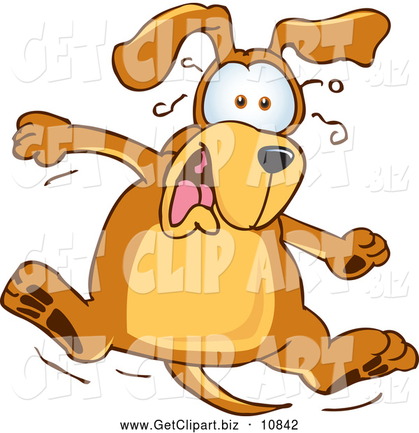Clip Art of a Cute Brown Dog Mascot Cartoon Character Jumping in Shock