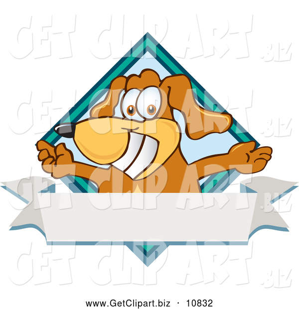 Clip Art of a Cute Brown Dog Mascot Cartoon Character with Open Arms over a Blank White Label