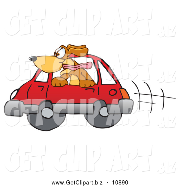 Clip Art of a Cute Brown Dog with Its Head out a Car Window