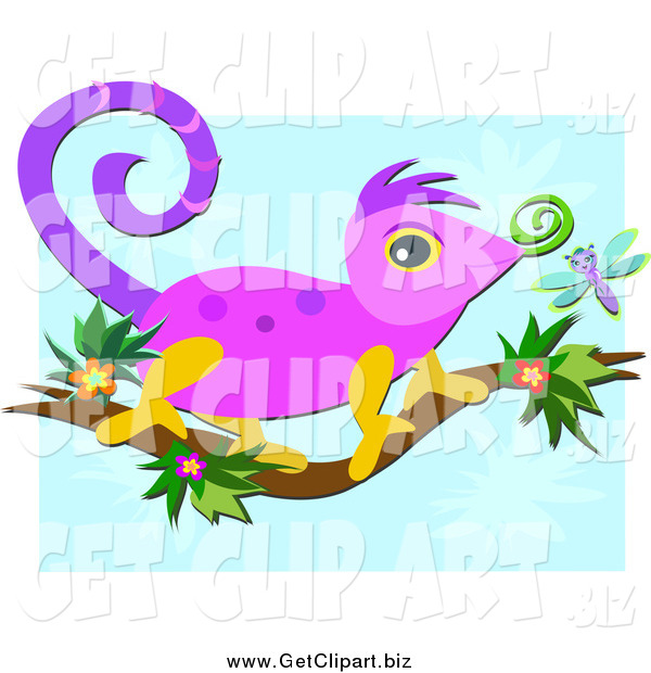 Clip Art of a Cute Chameleon Lizard on a Floral Branch over Blue