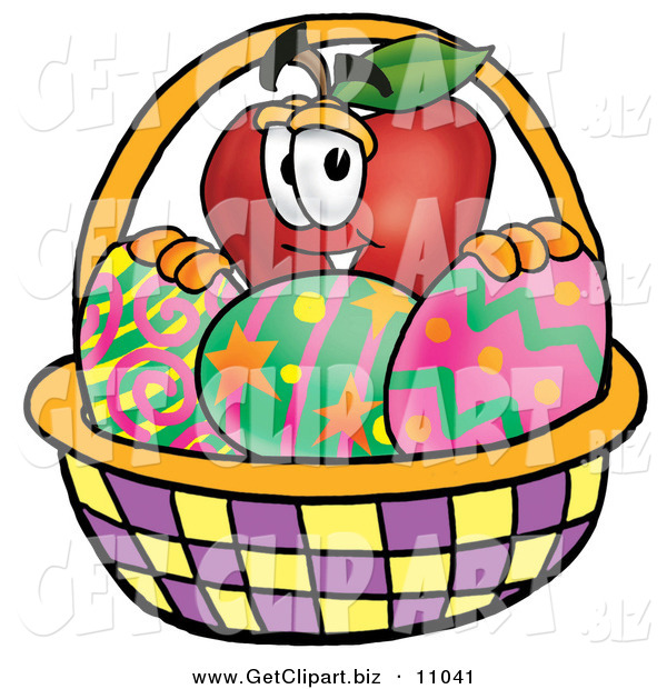 Clip Art of a Cute Red Apple Character Mascot in an Easter Basket Full of Decorated Easter Eggs